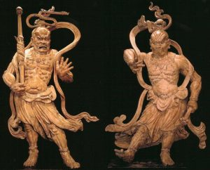 Japan Pair of Wooden Temple Figures, Nio Wood 71 in. high Est. 1467-1652